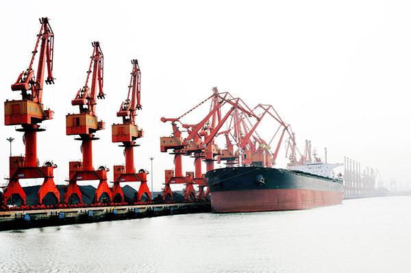 Red ship in dock