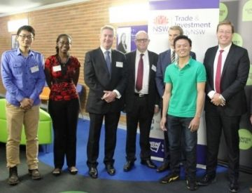 NSW Deputy Premier Troy Grant (far right) and guests at the launch of Study Hunter