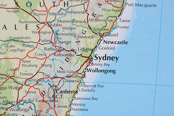 Map of NSW Coast
