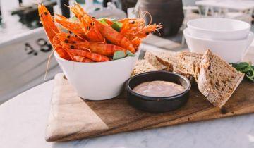 Fresh prawns served at a waterside restaurant