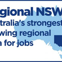 Informational graphic showing a map of Australia, with NSW shaded and text: Regional NSW - Australia's strongest growing regional area for jobs