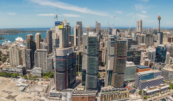 An aerial view of the Sydney CBD, financial district with high rise buildings