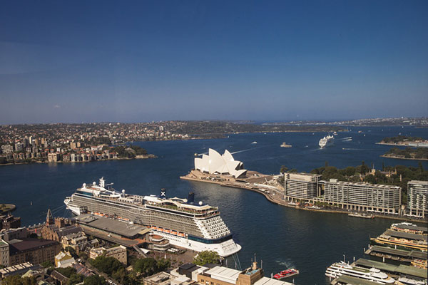 Tourist ship docked in Sydney Harbour