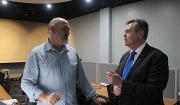 Minister for Industry, Resources and Energy Anthony Roberts and Raygun Photography owner Garry Owens at the launch of the Gosford Smart Work Hub