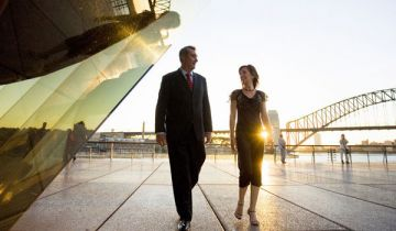 Two professional people walking at the Sydney Opera House.