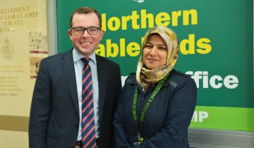Adam Marshall MP with Dunya Alruhaimi UNE International Hub project officer