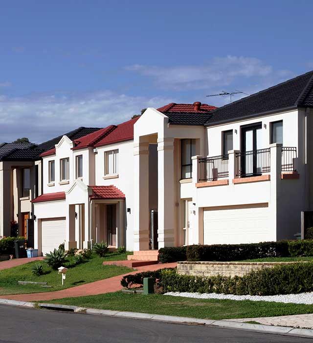 Street scene of housing
