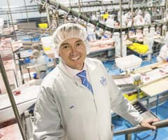 Will Barton CEO of Gundagai Meat Processors in factory