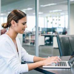 Aboriginal lady on laptop