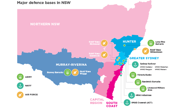 Map of major defence bases in NSW