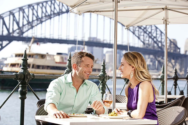 Couple dining on the harbour