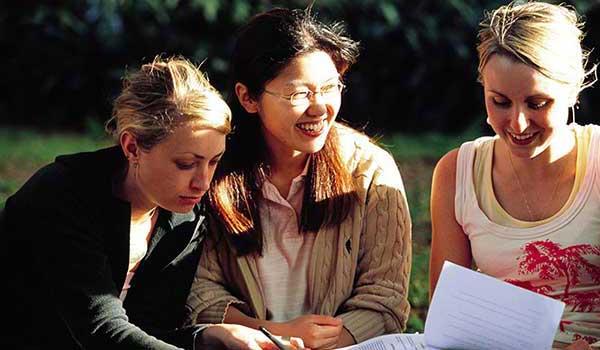 Three girls at university
