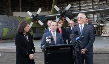 NSW Premier Gladys Berejiklian and Prime Minister Malcolm Turnbull with Dave Perry, President of Northrop Grumman International, at the announcement