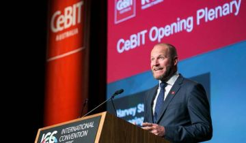 Harvey Stockbridge speaking at CeBIT 2017