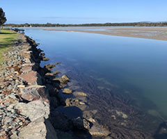 A section of new reinforced seawall at Lake Illawarra