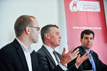 Deputy Premier Andrew Stoner and Rackspace team