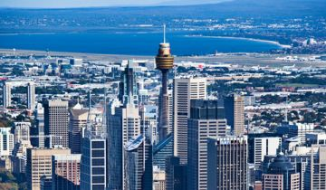 Image of Sydney buildings, including iconic Sydney tower