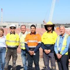 Clarence MP Chris Gulaptis with staff and apprentices at Clarence Correctional Centre