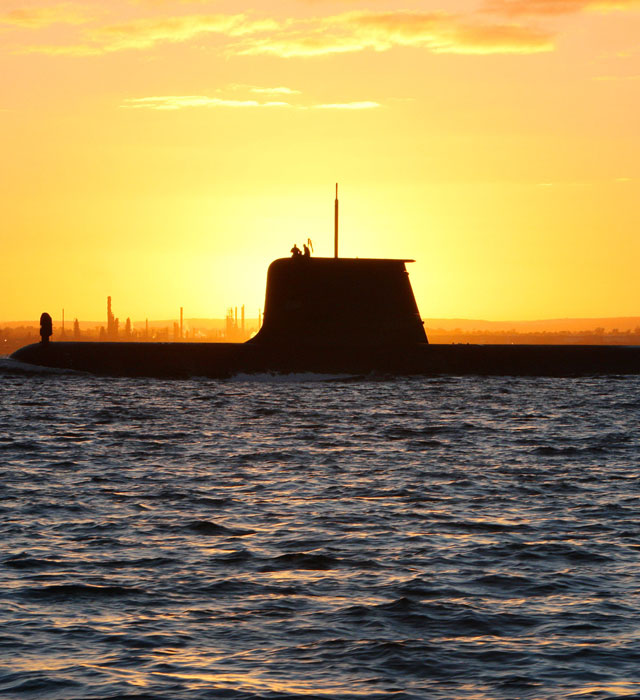 Submarine at sunset