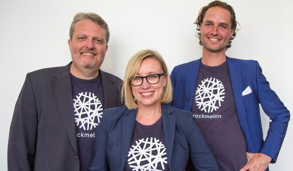 Rockmelon founders Nicole Rogerson (CEO, Stuart Waite (COO) and Alex Andrew de la Porte