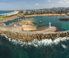 Aerial view of Wollongong harbour
