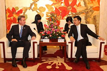 NSW Premier Barry O'Farrell with His Excellency Mr Xiaodan Zhu, Governor of Guangdong Province