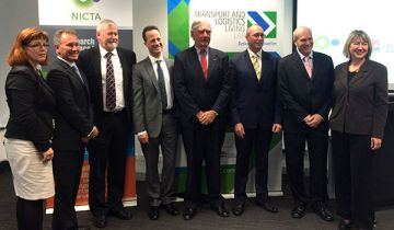 L-R Carolin Lenehan, NSW Trade & Investment, Rob Fitzpatrick,  NICTA, Mike Grundy, CSIRO, Theo Triantafillides, StarTrack, Ian Murray AM, Australian Logistics Council, Graeme Harrison-Brown, Connexxions, Neil Temperley, NICTA, Liz Jakubowski, NICTA