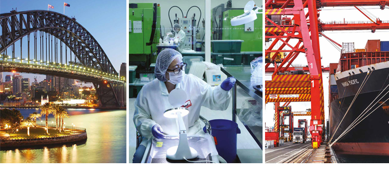Three images: Sydney Harbour Bridge, Scientist in lab and ship docked