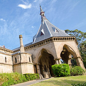 Rookwood Cemetery mortuary railway station, was a railway station on Sydney's Rookwood Cemetery railway line.
