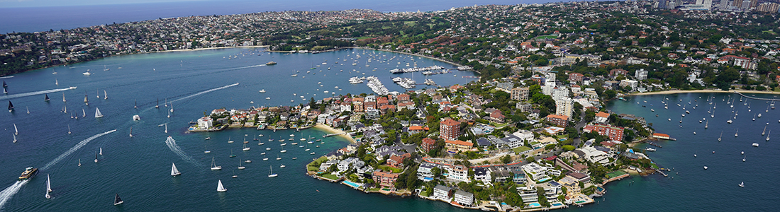 An aerial view of Sydney from a helicopter.