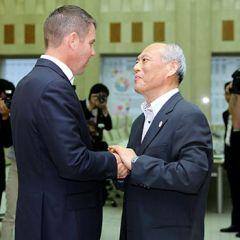 M Baird meets the Governor of Tokyo, Mr Yoichi Masuzoe, in Tokyo