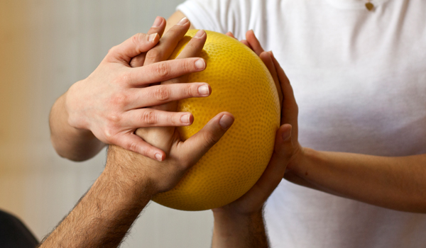 hands on exercise ball