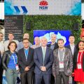 Minister for Trade and Industry Niall Blair with representatives of NSW companies showcased on the NSW Government stand at CeBIT 2018.