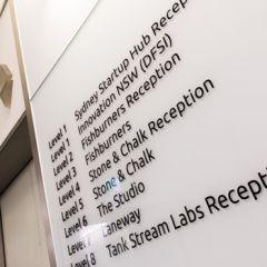 Sydney Startup Hub directory listing next to lift