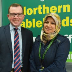 Adam Marshall MP with Dunya Alruhaimi UNE International Hub project officer