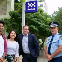 UNSW international students Anand Pabbawar and Aurelia Israel with Minister for Police Troy Grant and Superintendent Fred Trench.