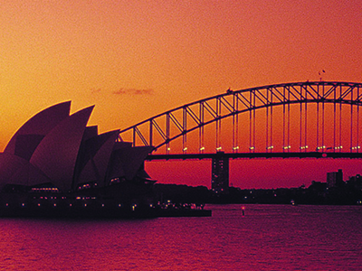 Sydney Opera House and Bridge at sunset