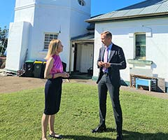 Member for Vaucluse Gabrielle Upton with Minister for Planning and Public Spaces Rob Stokes in front of South Head Signal Station