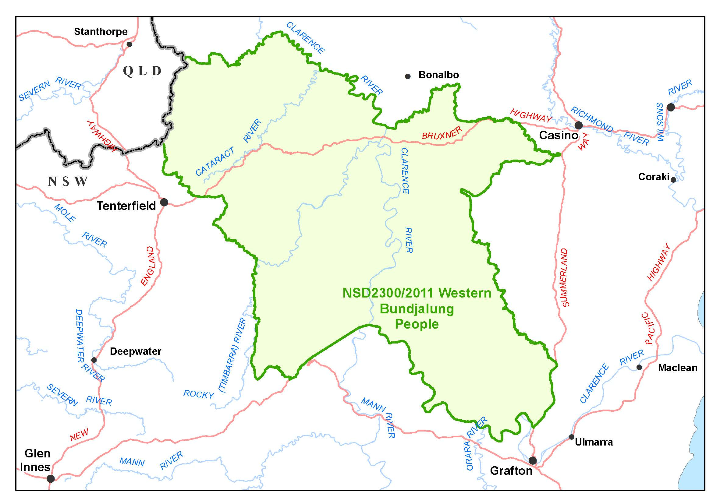Western Bundjalung determination map covering NSW to the border of Qld