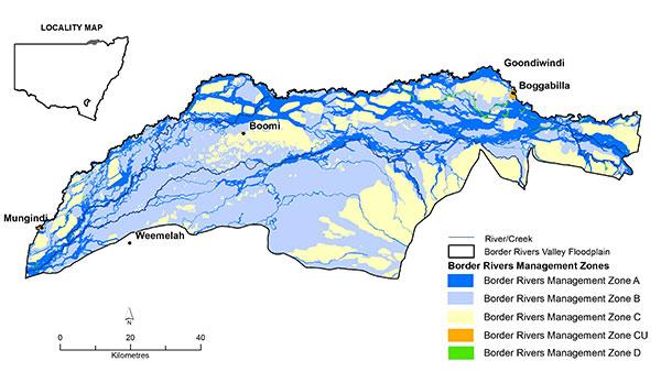 Border Rivers Management Zones map