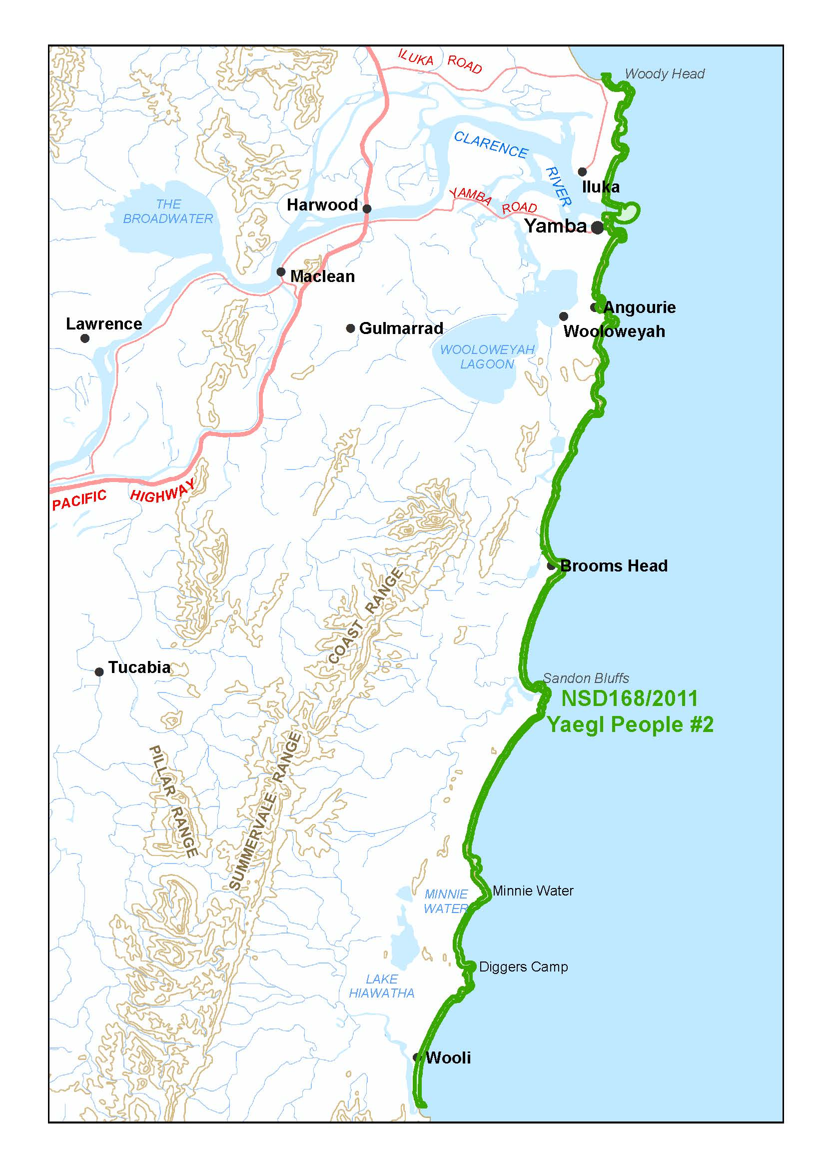 Yaegl determination map north coast of NSW
