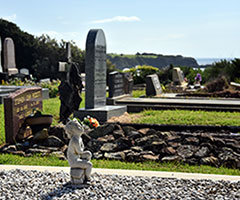 Narooma graveyard is an amazing artistic cemetery with very individual graves with to the sea and Glasshouse Rocks beach