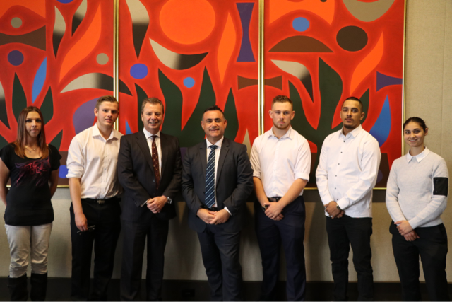 Deputy Premier and Minister for Skills, John Barilaro, pictured with Russell Evans (Bert Evans' son) and past recipients of the Bert Evans Scholarships at a function today at Parliament House in Sydney