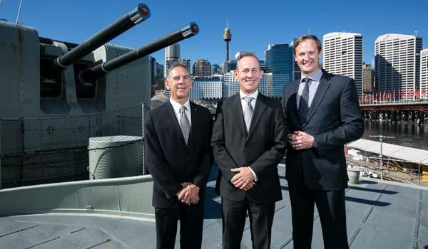 John Harvey, Peter Scott, Duncan Challen on naval ship in Sydney