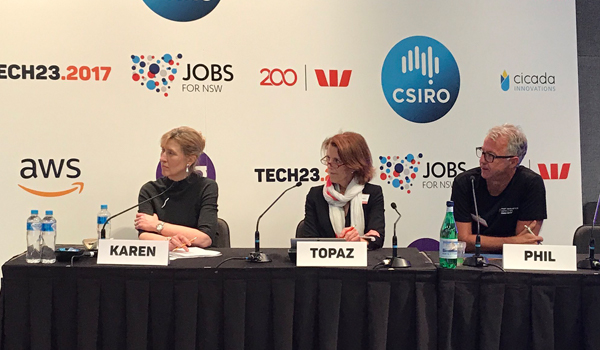 Karen Borg, Topaz Conway and Phil Morle on panel at Tech23.2017
