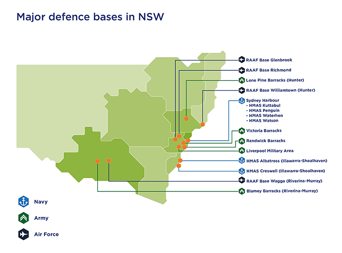 Map of New South Wales highlighting areas of key defence, industry, education and innovation