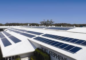 A Yingli Solar system on the Marquis Bathrooms factory in Port Stephens, NSW