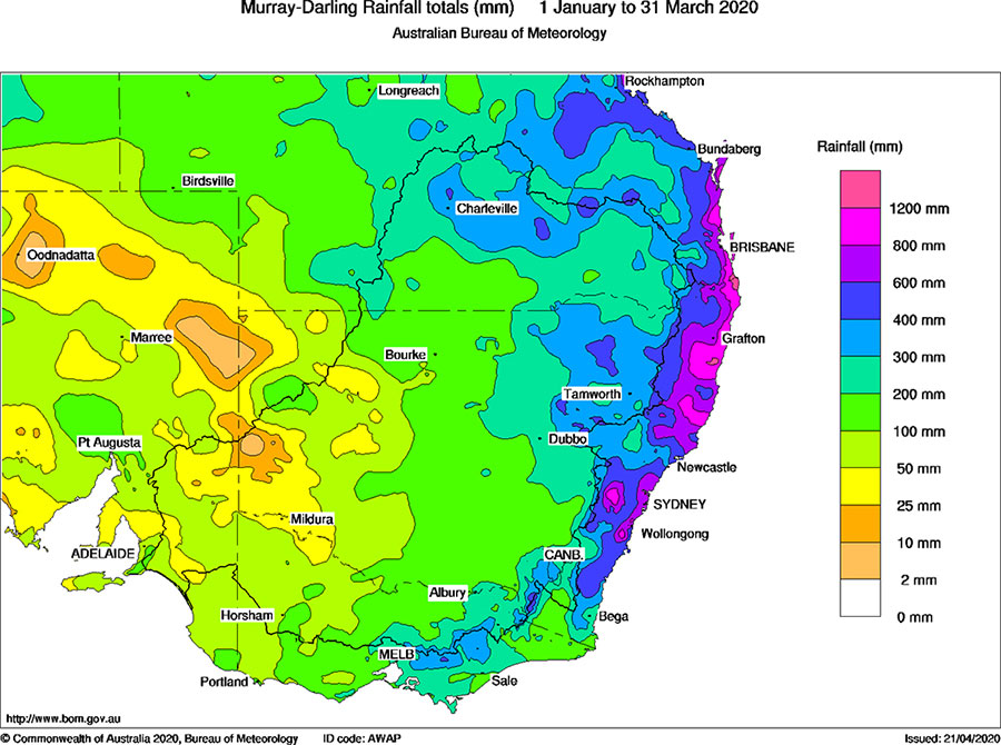 Murray-Darling Rainfall totals (mm) 1 January to 31 March 2020
