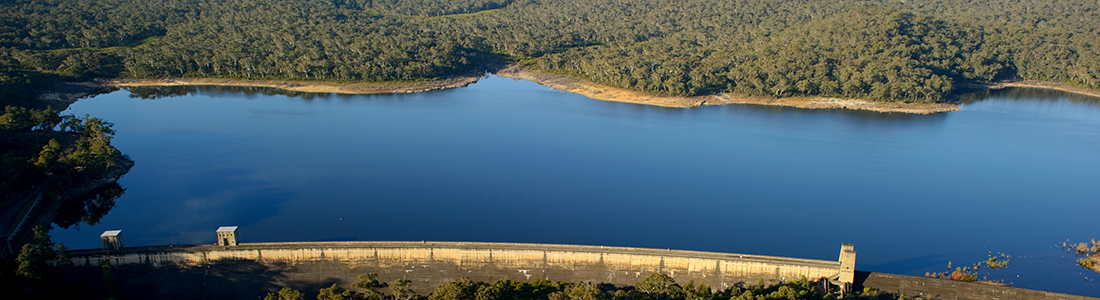 An aerial view of Cordeaux Dam. Image courtesy of WaterNSW.