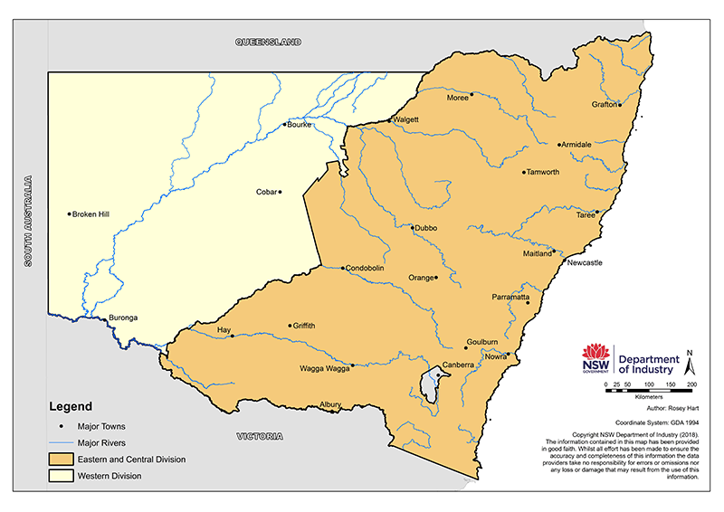 Western Division of NSW map